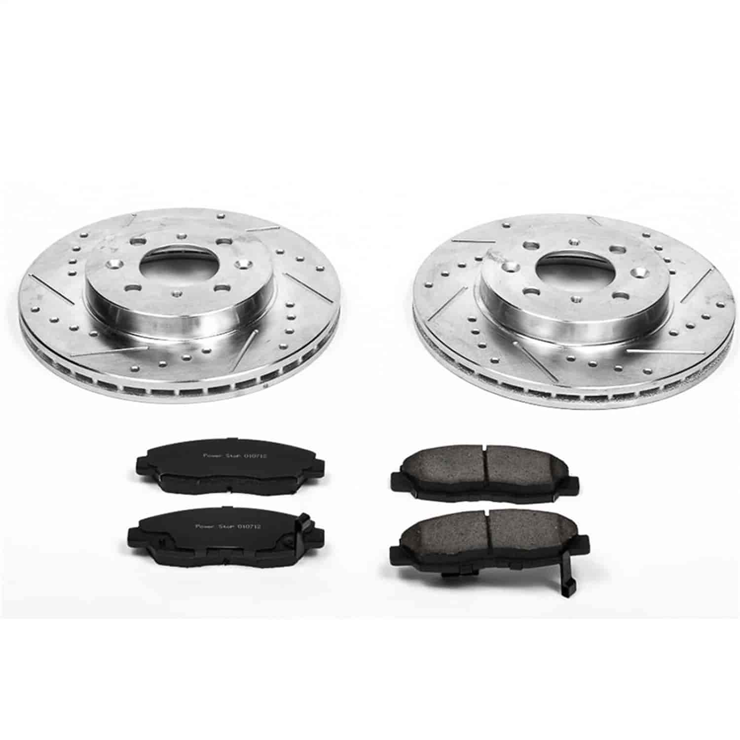 2008 2009 For Honda Civic DX//EX//LX//Hyb Coated Drilled Slotted Front Rotors