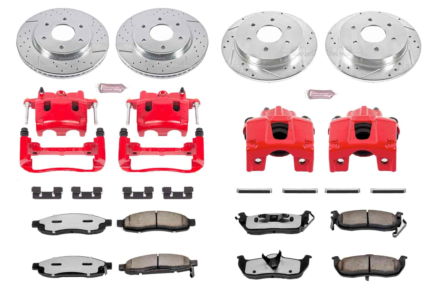 Pads For 2006 2007 QX56 Nissan Armada Front Red Brake Calipers And Rotors