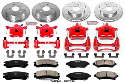 Front And Rear Brake Calipers Ceramic Pads For CENTURY REGAL INTRIGUE GRAND PRIX
