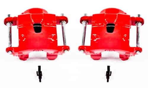 FRONT Performance Grade Red Powder Coated Semi-Loaded Caliper Assembly Pair Set CLHN019371 2