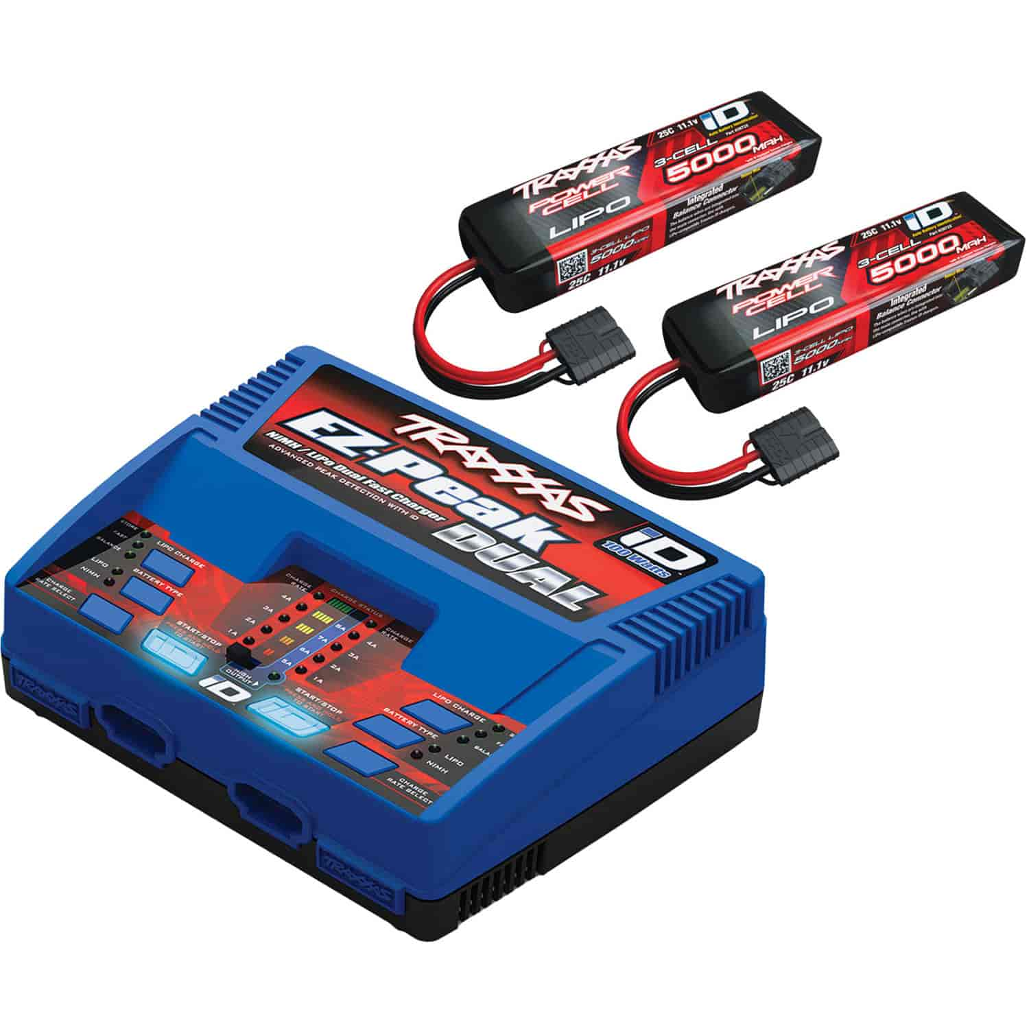 Traxxas 2990 Charger & Battery Kit Kit Includes 2 5000mAh 11 1v 3 Cell 25C LiPo Battery