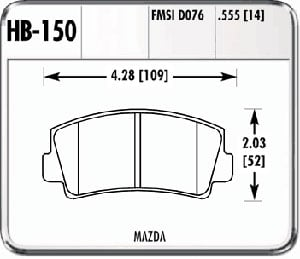Hawk HB150F.555 - Hawk High Performance Brake Pads for Mazda