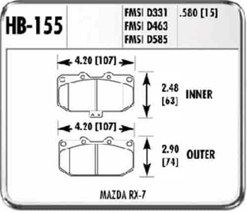 Hawk HB155F.580 - Hawk High Performance Brake Pads for Mazda