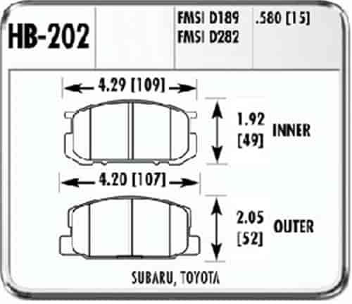 Hawk HB202F.580 - Hawk High Performance Brake Pads for Toyota