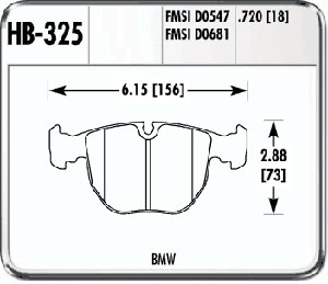 Hawk HB325F.720 - Hawk High Performance Brake Pads for BMW/Mini