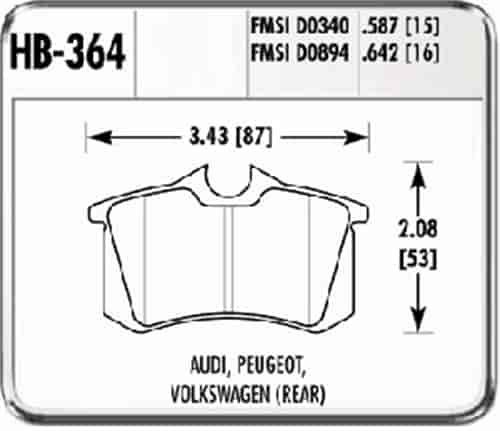 Hawk HB364N.642 - Hawk High Performance Brake Pads for Audi/Volkswagen