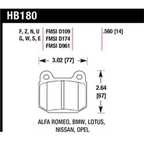 Brake Shoes Cross Reference Chart : Hawk hb ee disc brake pad jegs