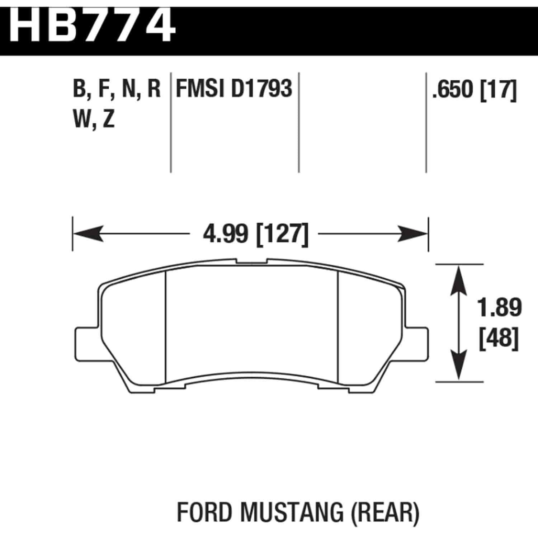 Hawk HB774N 650 HP PLUS BRAKE PADS 2015 2017 FORD MUSTANG REAR
