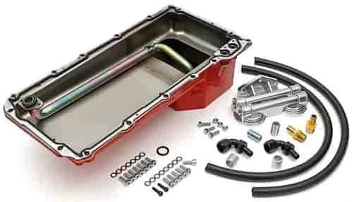 hamburger s 0177 ls swap oil pan filter relocation kit 1982 2004 chevy s10 blazer early model gm cars trucks double filter horizontal port red pan jegs hamburger s ls swap oil pan filter combo kit for 1982 2004 chevy s10 blazer early model gm cars trucks double filter horizontal port red