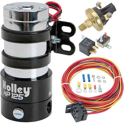 holley hp 125 electric fuel pump kit 110 gph @ 7 psi includes Fuel Pump Relay Wiring Harness