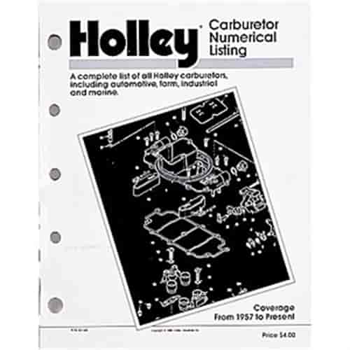 Holley 36-168 - Holley Carburetor Numerical Listing Book