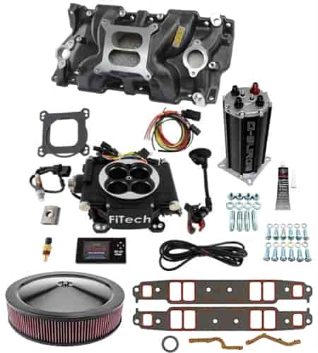 FITech Fuel Injection Go EFI-4 600 HP Throttle Body System Master Kit  Includes: Intake Manifold and Air Cleaner - Small Block Chevy