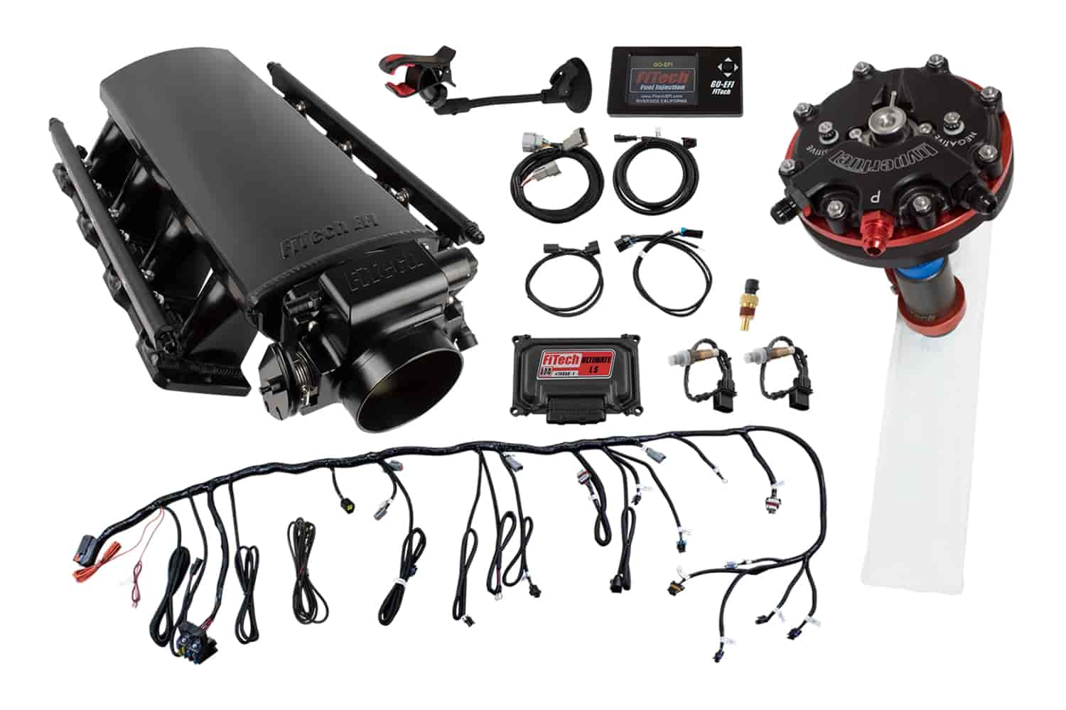 FITech Fuel Injection Ultimate LS EFI Induction System LS1/LS2/LS6 750 HP  with Hy-Fuel Single Pump Regulated In-Tank Retrofit Kit
