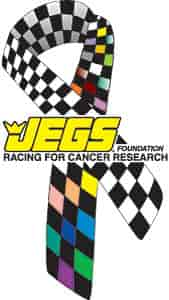 JEGS 114 - JEGS Foundation Racing for Cancer Research Ribbon Decal, Magnet, Pin, and Patches
