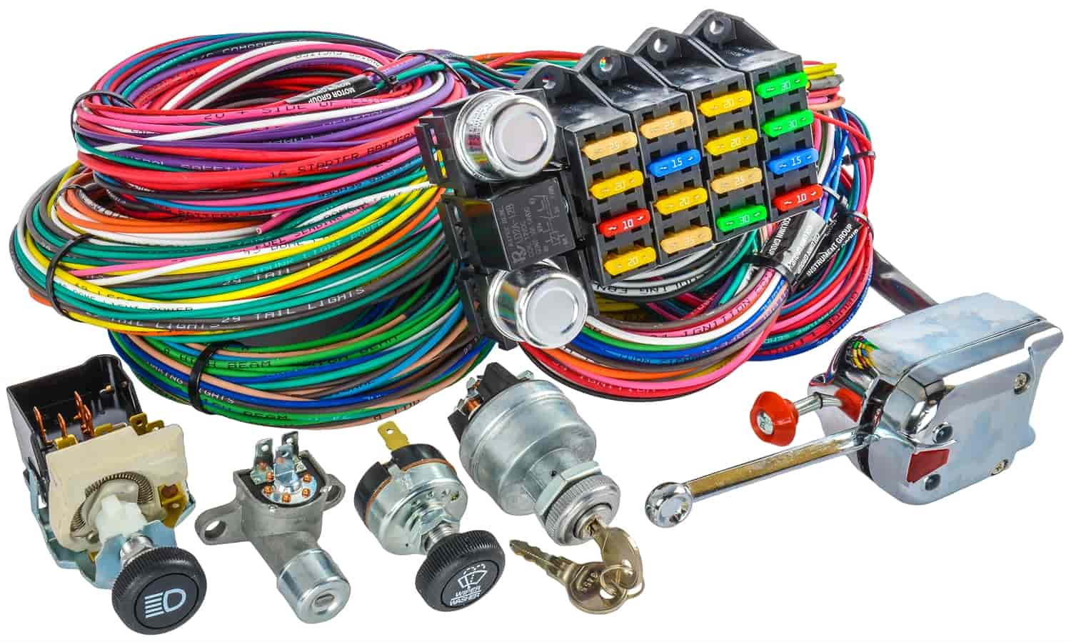 jegs 10405k universal wiring harness switch kit 20 circuit jegs rh jegs com universal motorcycle wiring harness kit Ford Wiring Harness Kits