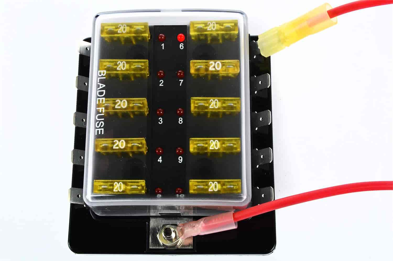 555 10428 jegs 10428 10 pole led standard fuse block jegs
