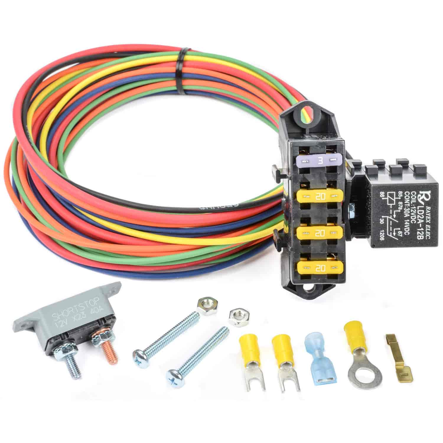 Auxiliary Fuse Box With Relay Wiring Library Painless 70207 Aux Block Circuit Jegs 10432 3 Ignition Hot W