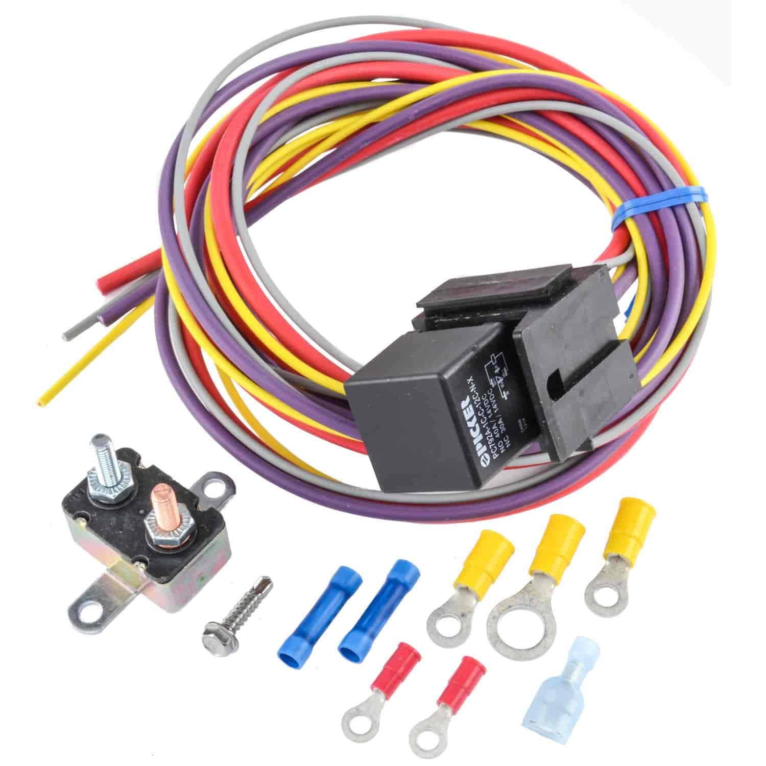 jegs 10559 manual controlled single fan wiring harness relay kit rh jegs com