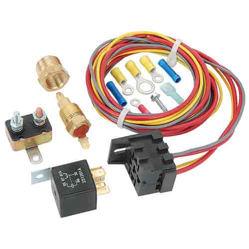jegs performance products 10560 electric fan wiring harness relay rh jegs com spal relay wiring kits relay install kit