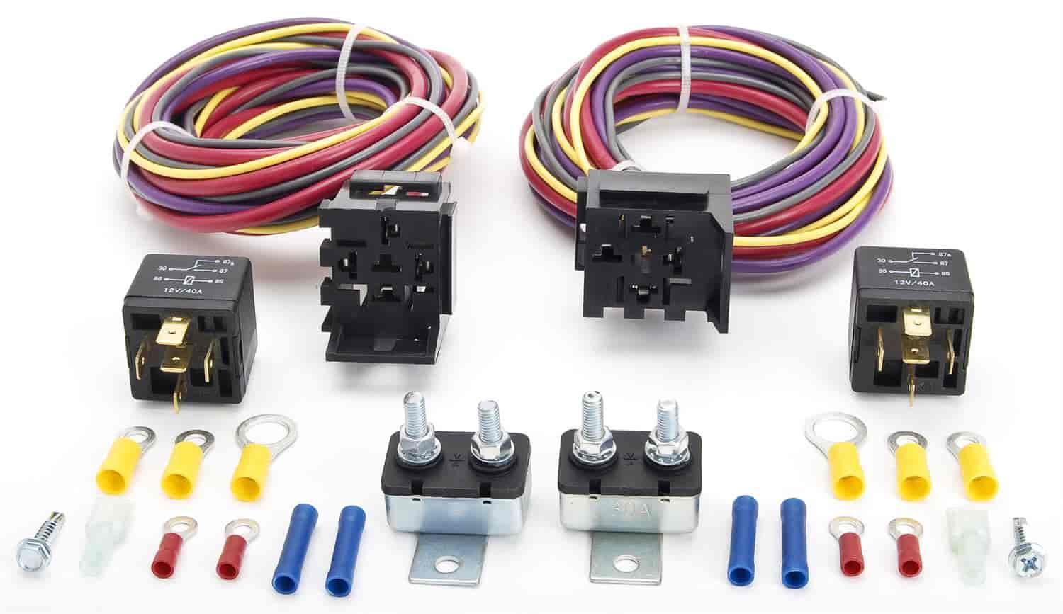 Jegs 10569 manual controlled dual fan wiring harness and relay kit jegs 10569 freerunsca Image collections