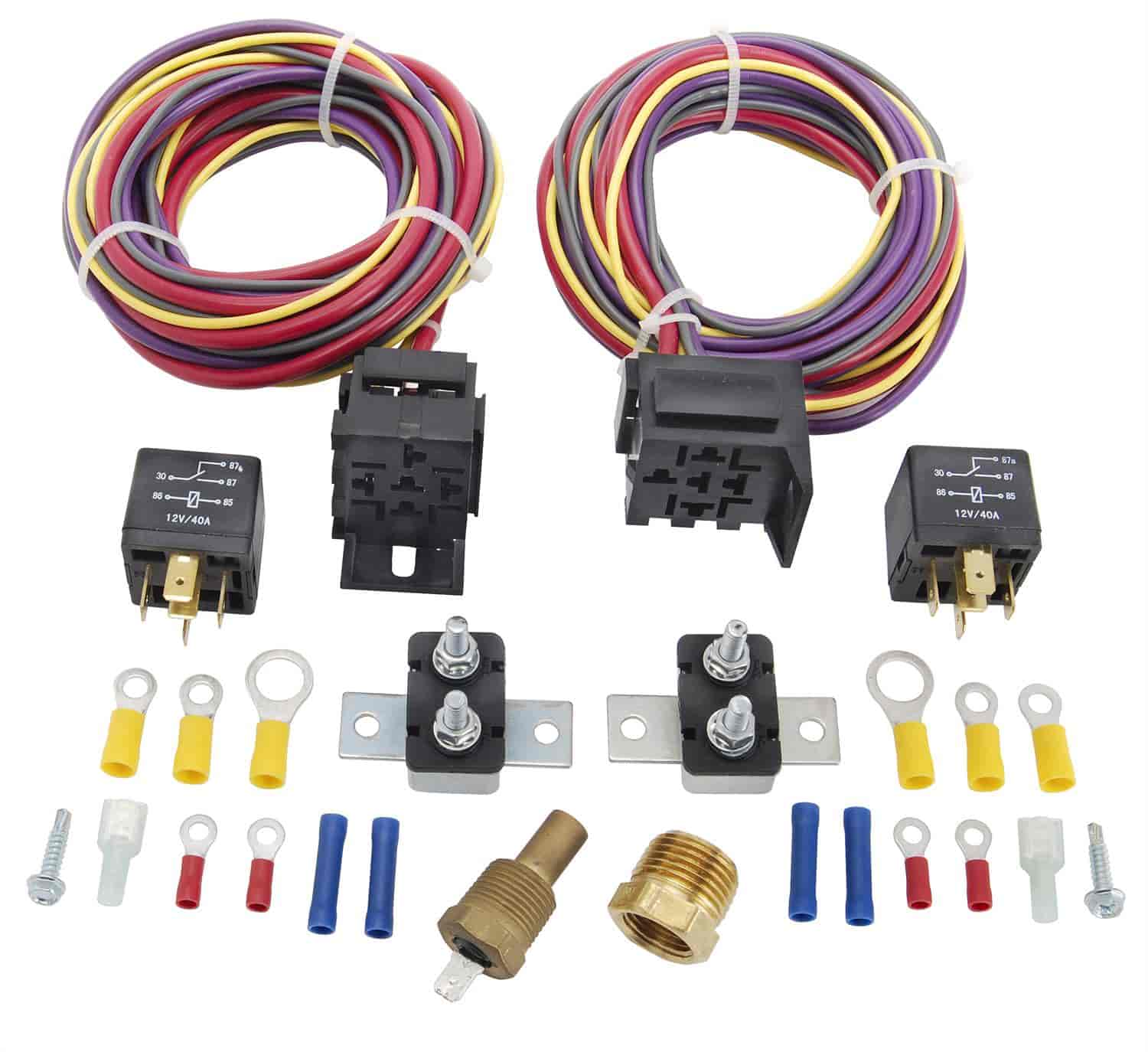 555 10570 jegs performance products 10570 dual fan wiring harness & relay Furnace Blower Fan Relay Wiring at honlapkeszites.co