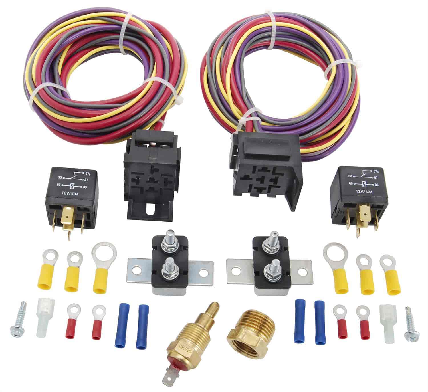 jegs 10571 dual fan wiring harness relay kit 30 amp jegs rh jegs com relay install kit trailer wiring relay kit