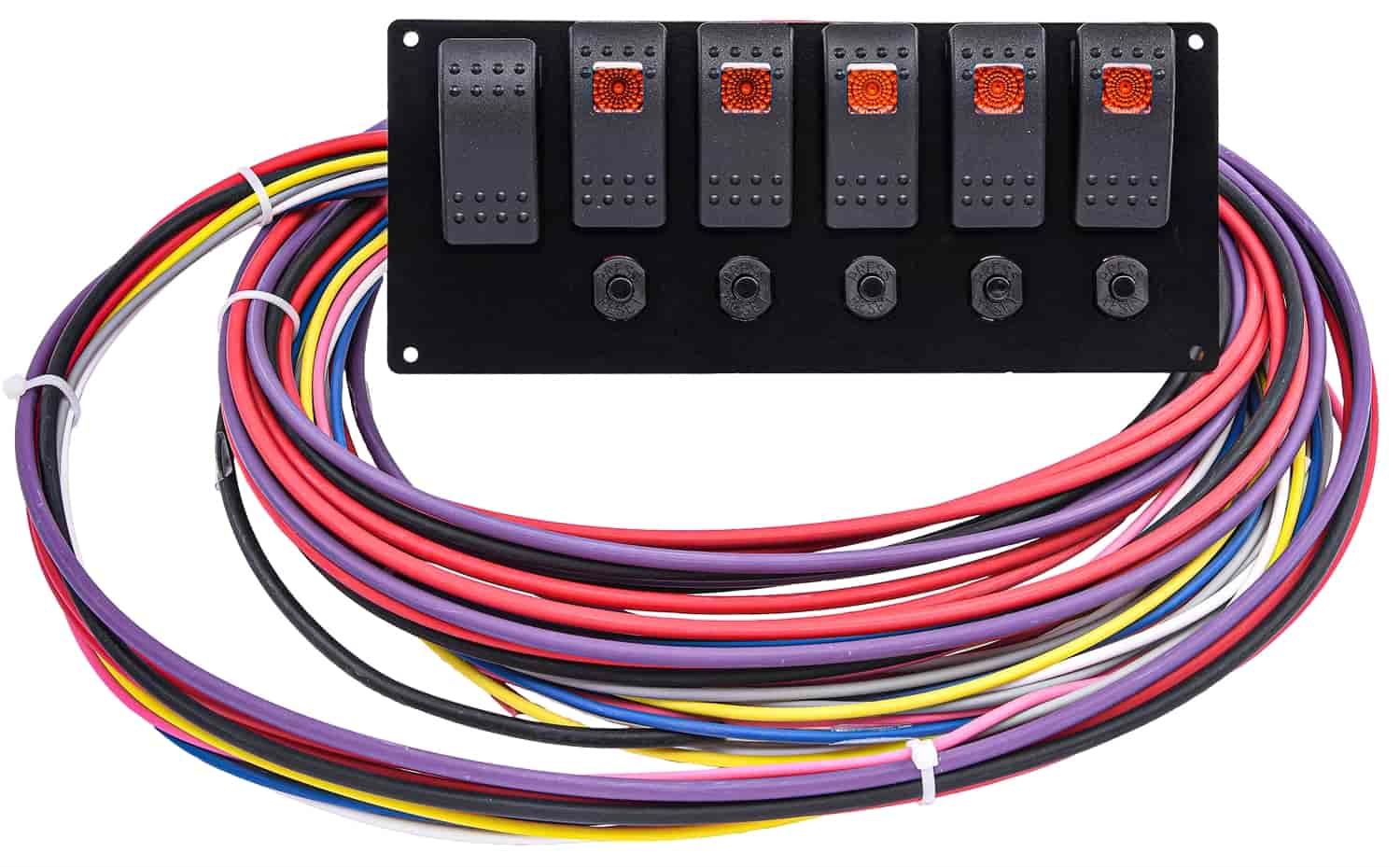 Jegs 11004 Rocker Switch Panel With Wiring Harness Momentary Starter Switch 5 On Off Switches Jegs