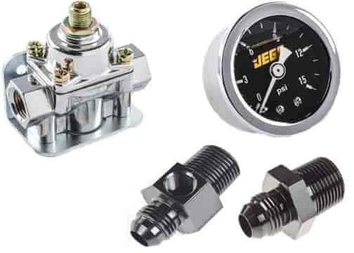 JEGS Fuel Pressure Regulator and Gauge Kit Gasoline 4 5 to 9 PSI