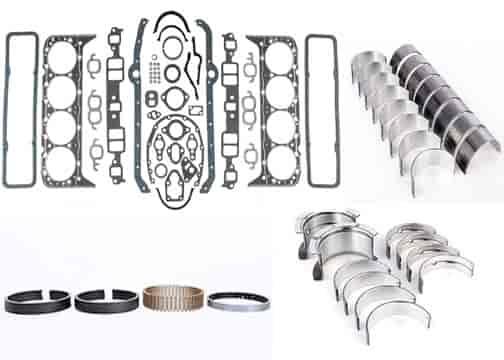350 Chevy Block Kit SBC Pistons Rings Bearings Gasket