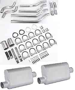 JEGS Performance Products 30511K - JEGS Dual Exhaust Kits with Fabricated Welded Chambered Deep-Tone Mufflers