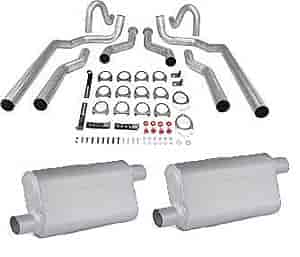 JEGS Performance Products 30541K - JEGS Dual Exhaust Kits with Fabricated Welded Chambered Deep-Tone Mufflers