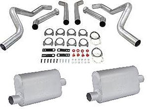 JEGS Performance Products 30542K - JEGS Dual Exhaust Kits with Fabricated Welded Chambered Deep-Tone Mufflers