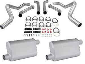 JEGS Performance Products 30543K - JEGS Dual Exhaust Kits with Fabricated Welded Chambered Deep-Tone Mufflers