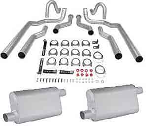 JEGS Performance Products 30546K - JEGS Dual Exhaust Kits with Fabricated Welded Chambered Deep-Tone Mufflers