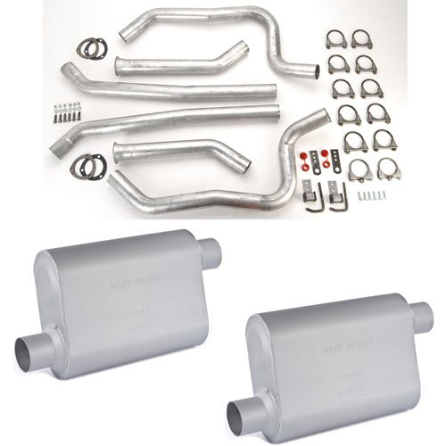 JEGS Performance Products 30549K - JEGS Dual Exhaust Kits with Fabricated Welded Chambered Deep-Tone Mufflers