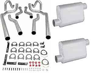 JEGS Performance Products 30555K - JEGS Dual Exhaust Kits with Fabricated Welded Chambered Deep-Tone Mufflers