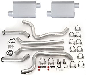 JEGS Performance Products 30565K - JEGS Dual Exhaust Kits with Fabricated Welded Chambered Deep-Tone Mufflers