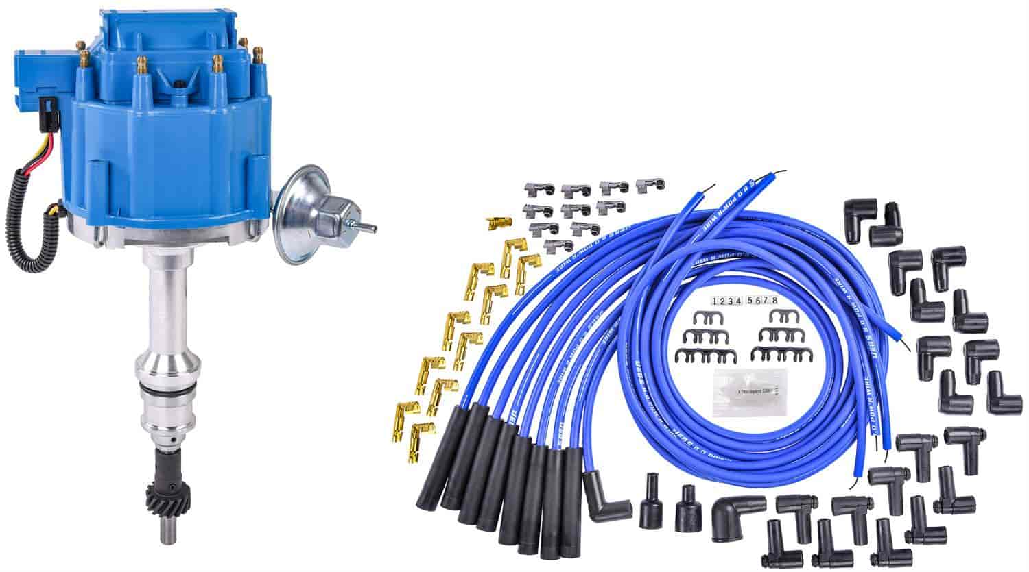 JEGS 40032 [40032K]: HEI Distributor and Spark Plug Wire Kit [Ford Small  Block 221-302 V8] | JEGSJegs