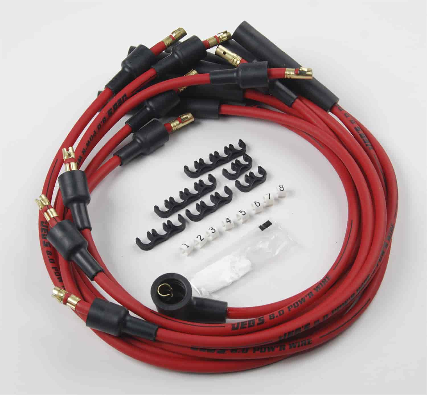JEGS Performance Products 40250 - JEGS 8.0mm Red Hot Pow'r Wires