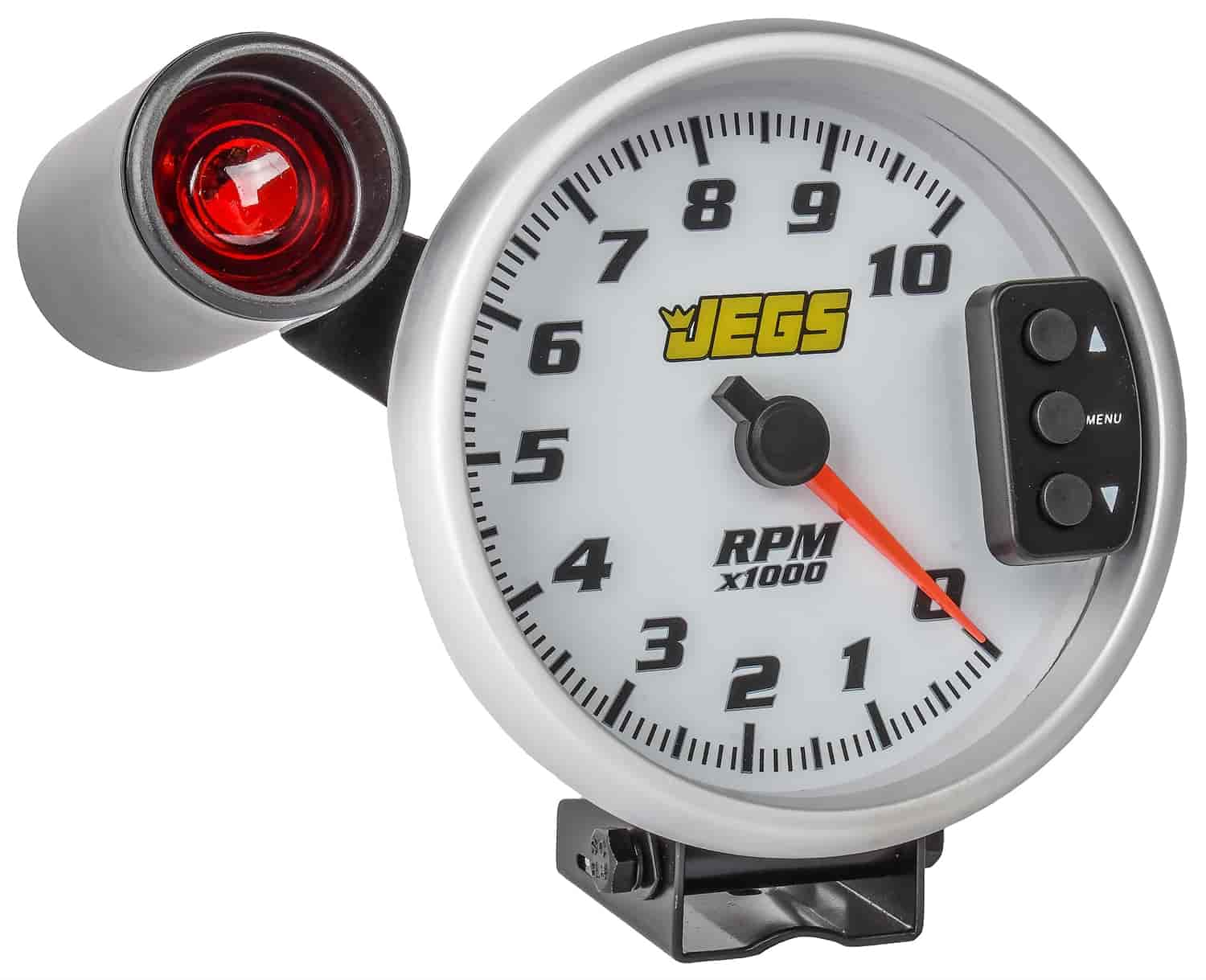 Jegs 41262 5 Tachometer White Face With Silver Bezel 1978 Camaro Wiring Diagram Rpm Tach