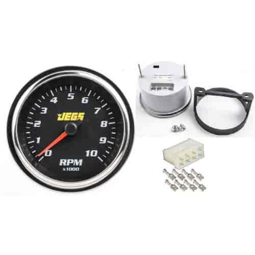 jegs 41270k 3 3 8 electric tachometer wiring connector black jegs rh jegs com Tachometer Wiring Diagram VDO Fuel Gauge Wiring Diagram
