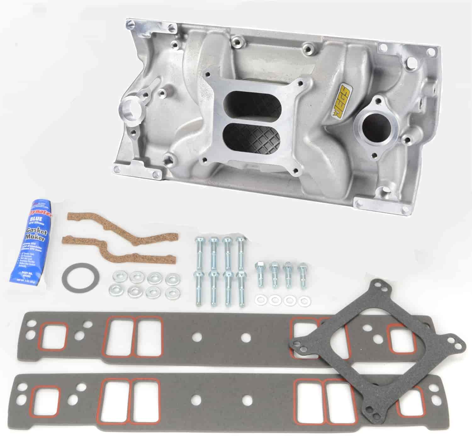 JEGS Intake Manifold with Installation Kit for Small Block Chevy with  1996-Up Vortec L31 Cast Iron Head