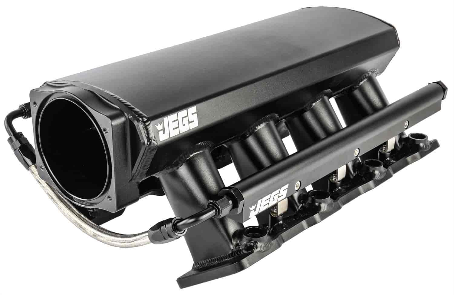 JEGS Fabricated Intake Manifold for GM LS1, LS2, LS6 [Black Aluminum]