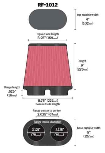K Amp N Rf 1012 Dual Flange Oval Tapered Flange Inside Dia