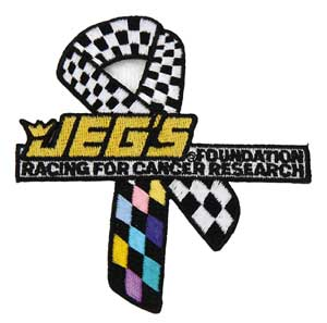 JEGS 117 - JEGS Foundation Racing for Cancer Research Ribbon Decal, Magnet, Pin, and Patches