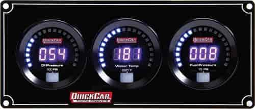 Digital Oil Pressure//Water Temperature//Fuel Pressure//Tachometer 67-3042 Kit Black Face QuickCar Racing Products Gauge Panel Assembly