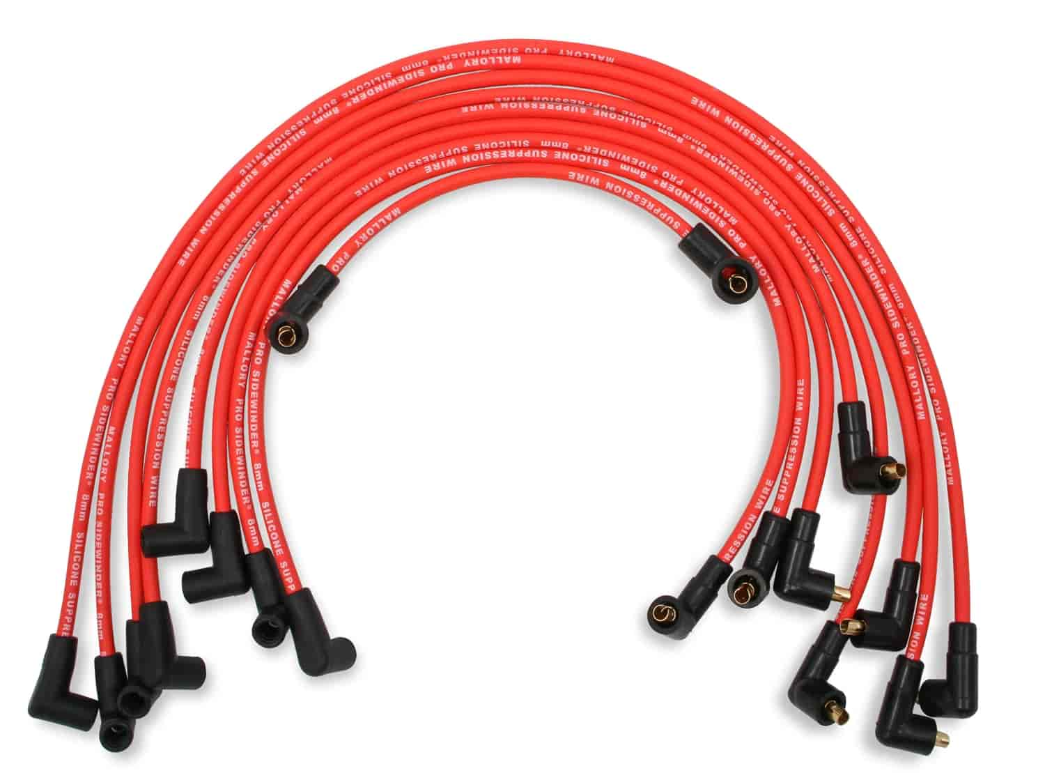 Mallory 604: 8mm Red Pro Wire Spark Plug Wire Set Small Block Chevy ...