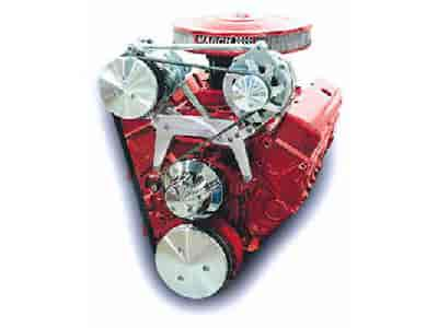 March Performance 20708 - March Chevy Small Block Serpentine Drive Kits - Single Carb High Mount A/C and Alternator