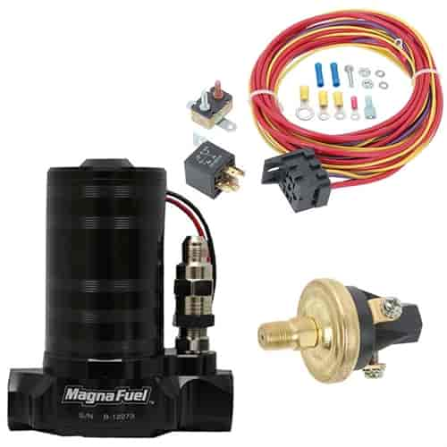 MagnaFuel MP-4401-BLK ProStar 500 Fuel Pump Kit | JEGS on ignition switch wiring, ignition coil wiring, fuel pump sensor, fuel pump wiring kit, electric fuel pump wiring, starter relay wiring, fuel relay switch location, fuel injector wiring, fuel pump wiring harness, fuel pump hotwire, fuel pump bulbs, map sensor wiring, fuel tank wiring, fog lamp relay wiring,