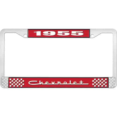 OER LF2235505C: 1955 Chevrolet License Plate Frame Red/Chrome | JEGS